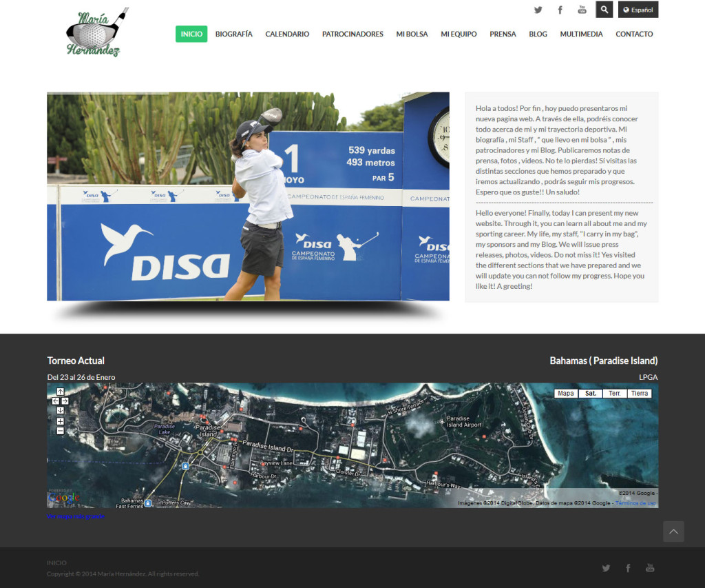 web de golf en wordpress